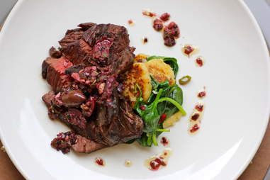 coriander cured hanger steak at BRU in Boulder