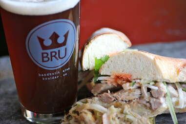 pork bahn mi sandwich at BRU in Boulder