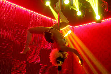 An upside down gogo dancer at the Golden Nugget's Haven nightclub in Atlantic City