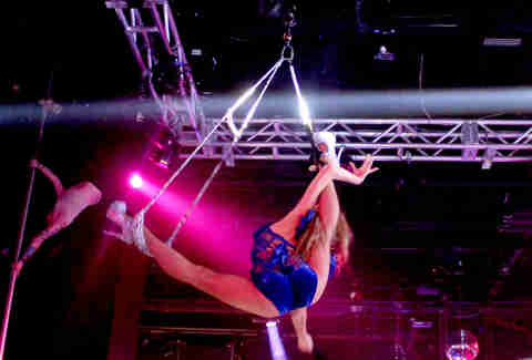 An aerialist at Haven nightclub at the Golden Nugget in Atlantic City
