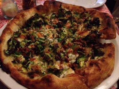 Brussels sprouts pizza with bacon