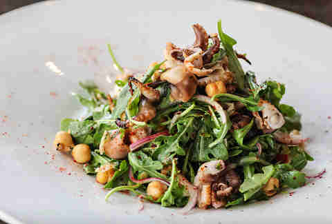 Ensalada Pulpo Asado at Viva Bar and Kitchen in the Gaslamp Quarter of San Diego.
