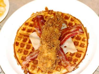 Chicken-waffle taco from Lucky J's Chicken & Waffles