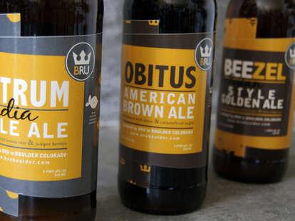 Brews from BRU brewery in Boulder
