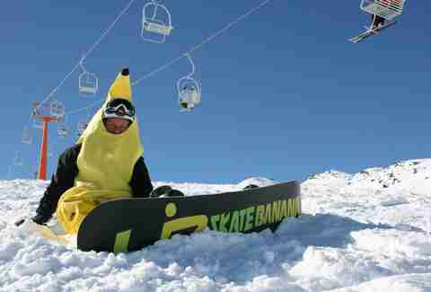 Banana snowboard guy at Evolve Chile