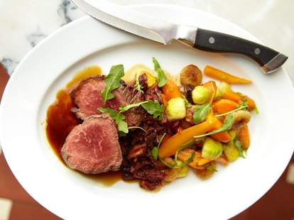 New York Steak with cipollini onions and carrots