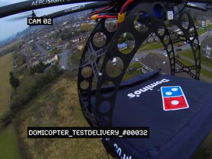Domino's domicopter helicopter delivering pizzas in London