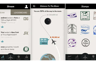 Screenshots from Flying app