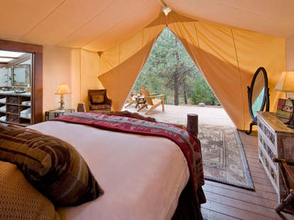 Luxury tent interior at The Resort at Paws Up's Campside Creek