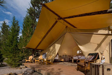 Luxury tent exterior at The Resort at Paws Up's Campside Creek