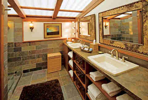 Master bathroom in luxury tent at The Resort at Paws Up's Campside Creek