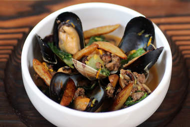 Steamed Mussels and clams at Juno in Lincoln Park