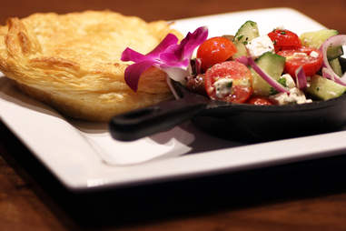 Rabbit pie and Greek salad at Carrie Nation Cocktail Club