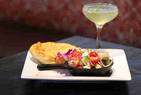 Rabbit pie and Archers Evening Law cocktail at Carrie Nation Cocktail Club