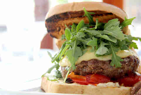 The grilled lamb cheeseburger at Noord