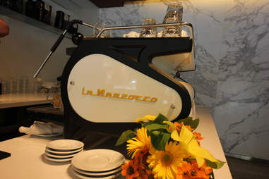 The La Marzocco Strada MP espresso machine at Little Owl