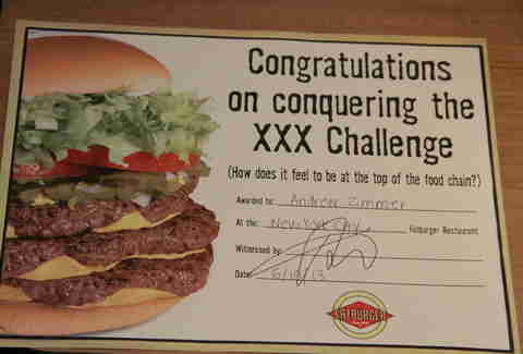 Certificate of XXXL Burger Completion