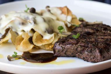Mettle flat iron steak with potato chip au gratin