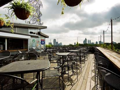 Six Feet Under Pub rooftop seating