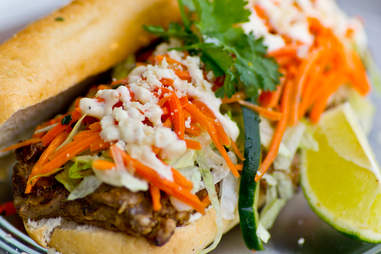 """People's Food Truck - """"El Rancho"""" po' boy w/ wood grilled steak, smoky onion, pickled carrot and avocado"""