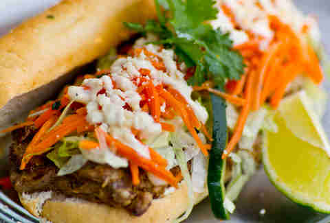 "People's Food Truck - ""El Rancho"" po' boy w/ wood grilled steak, smoky onion, pickled carrot and avocado"