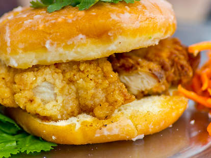 """People's Food Truck - """"The Sublime"""" w/ crispy chicken and 2 griddled Sublime doughnuts"""