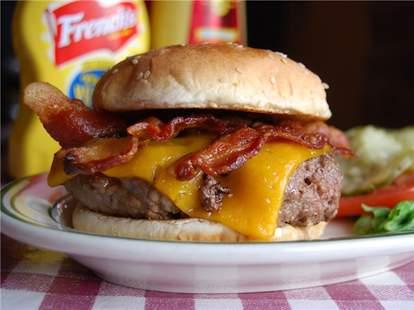 bacon cheeseburger on sesame bun