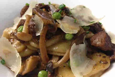 orecchioni pasta with beef ragu, mushrooms, peas, & pecorino cheese