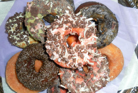 donuts, hand-dipped, chocolate, coconut, sprinkles