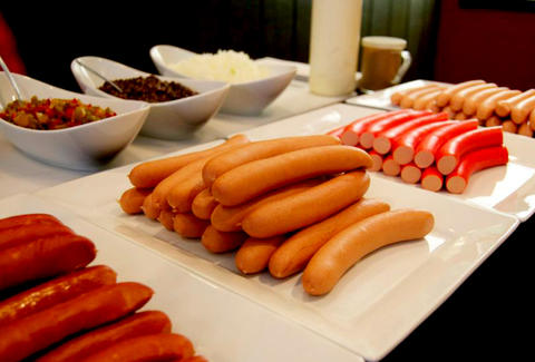 A buffet of hot dogs at a Hot Diggity workshop