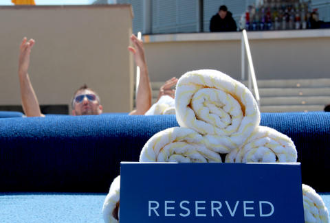 The VIP beds at HQ Beach Club at Revel