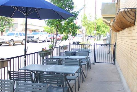 patio seating at The Hornet, Denver
