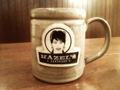 A coffee mug at Hazel's Northeast