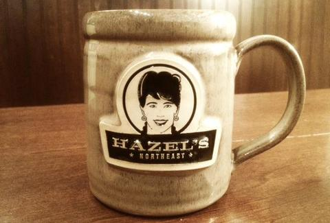 A coffee mug at Hazel's Northeast