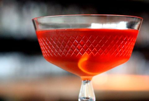 A red cocktail