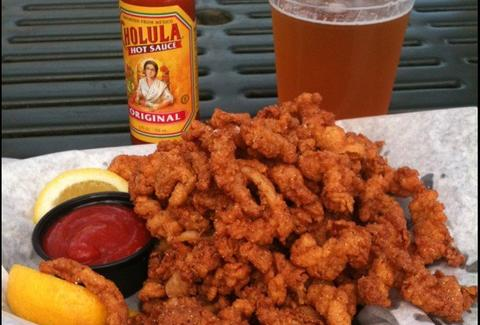Fried seafood and beer from Sea Salt Eatery