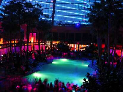 Harrah's, AC, pool, after dark, lights, cocktails, party