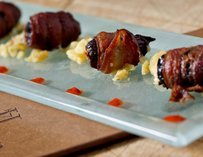 Bacon Wrapped Medjool Dates, Blue Cheese