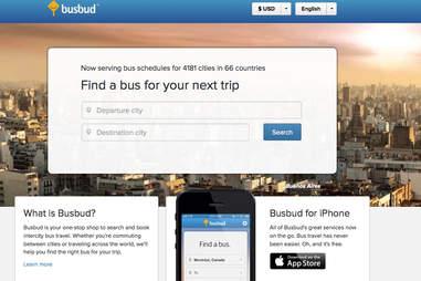 Busbud splash page