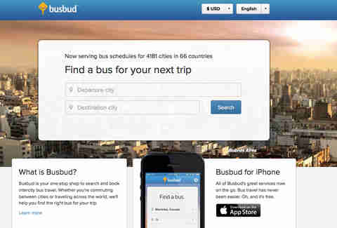 Busbud splash page