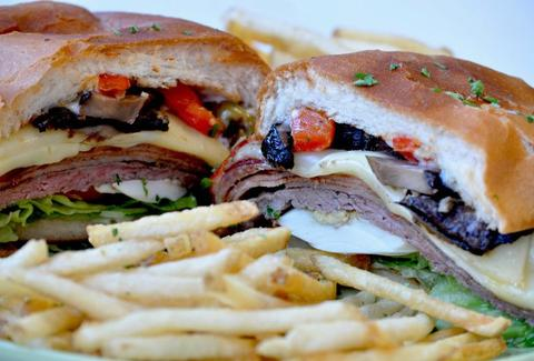 Roast beef sandwich with fries