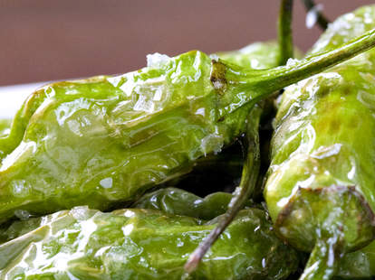 Blistered Shishito peppers with coarse sea salt