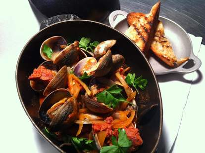 Fire roasted puget sound clams and prosser tomato sauce