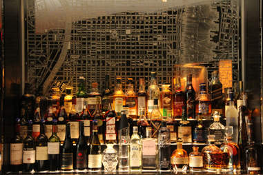 The Philly map-etched mirror behind the bar at the Library Bar at Rittenhouse Hotel