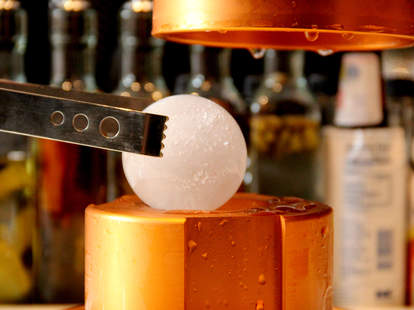 The ice ball maker at Library Bar in the Rittenhouse Hotel