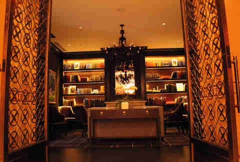 The main library room in the Library Bar at the Rittenhouse Hotel