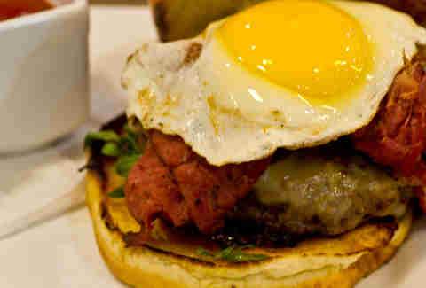 Brunswick's - Tavern 45 burger w/ Swiss cheese, Applewoodsmoked pastrami, sunny side up egg