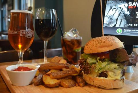 The Thirsty Bear London Burger, Fries, Wine and French Fries