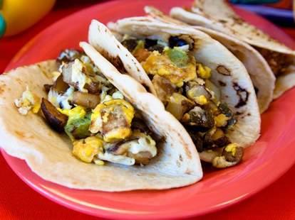 Two breakfast tacos
