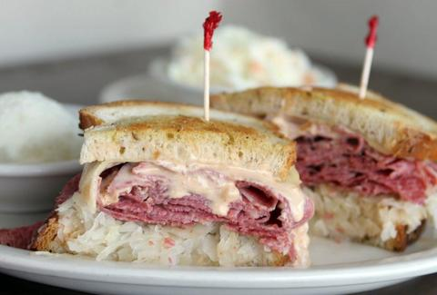 Closeup of a Reuben sandwich